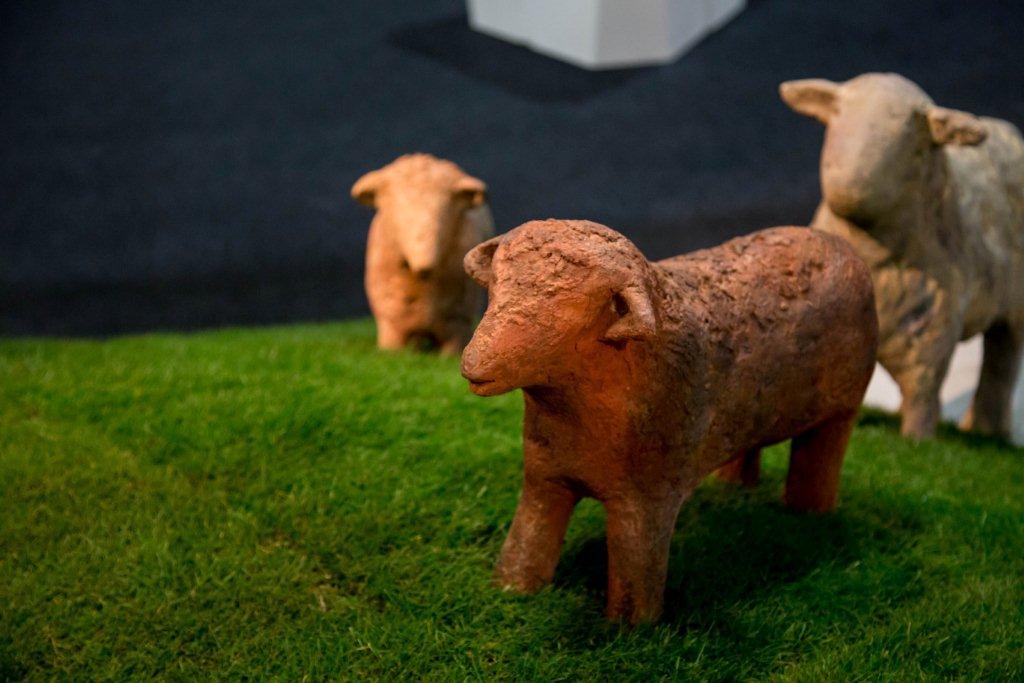 Kunstwerken in het gras